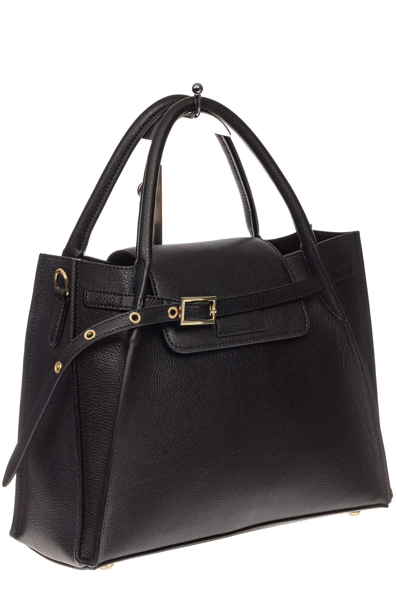 На фото 1 - Черная сумка трапеция из натуральной кожи