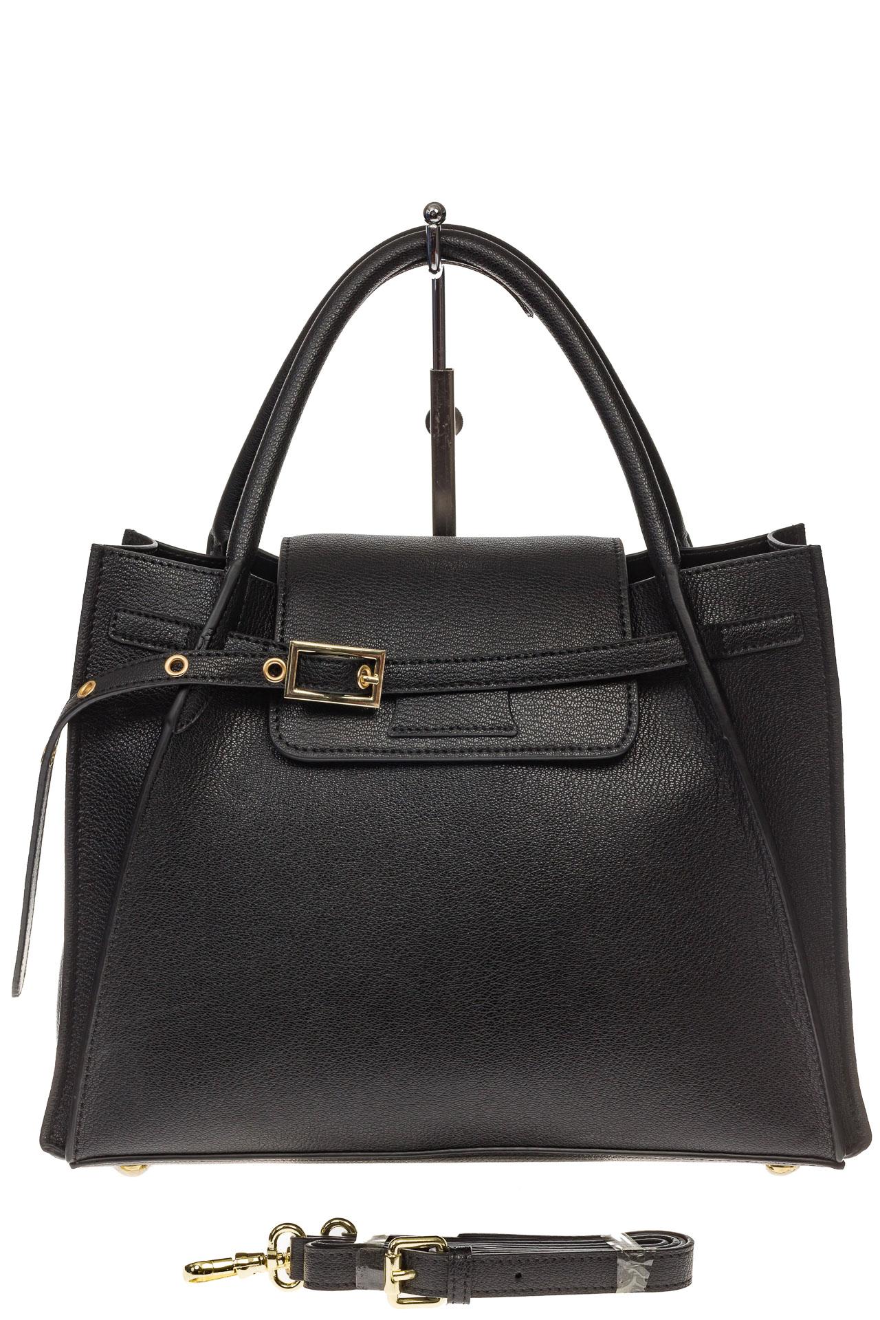 На фото 2 - Черная сумка трапеция из натуральной кожи
