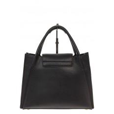 На фото 3 - Черная сумка трапеция из натуральной кожи