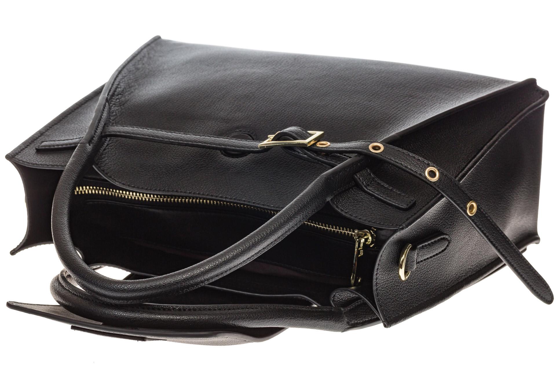 На фото 4 - Черная сумка трапеция из натуральной кожи