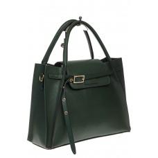 На фото 1 - Зеленая сумка трапеция из натуральной кожи