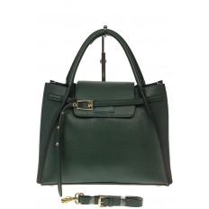 На фото 2 - Зеленая сумка трапеция из натуральной кожи