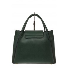 На фото 3 - Зеленая сумка трапеция из натуральной кожи