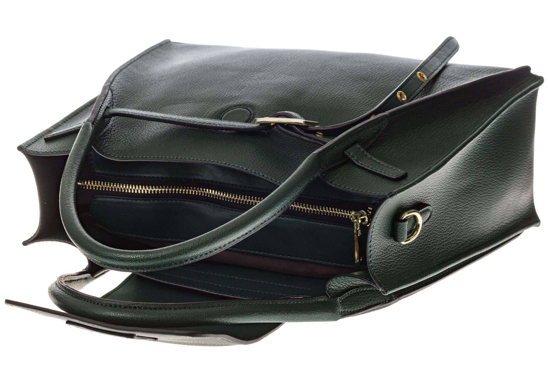 На фото 4 - Зеленая сумка трапеция из натуральной кожи