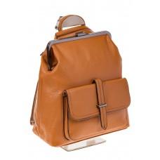 На фото 1 - Рюкзак с рамочным замком, цвет коричневый 1913AR