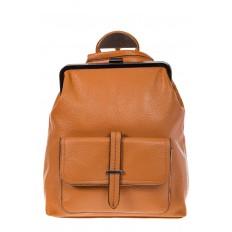 На фото 2 - Рюкзак с рамочным замком, цвет коричневый 1913AR