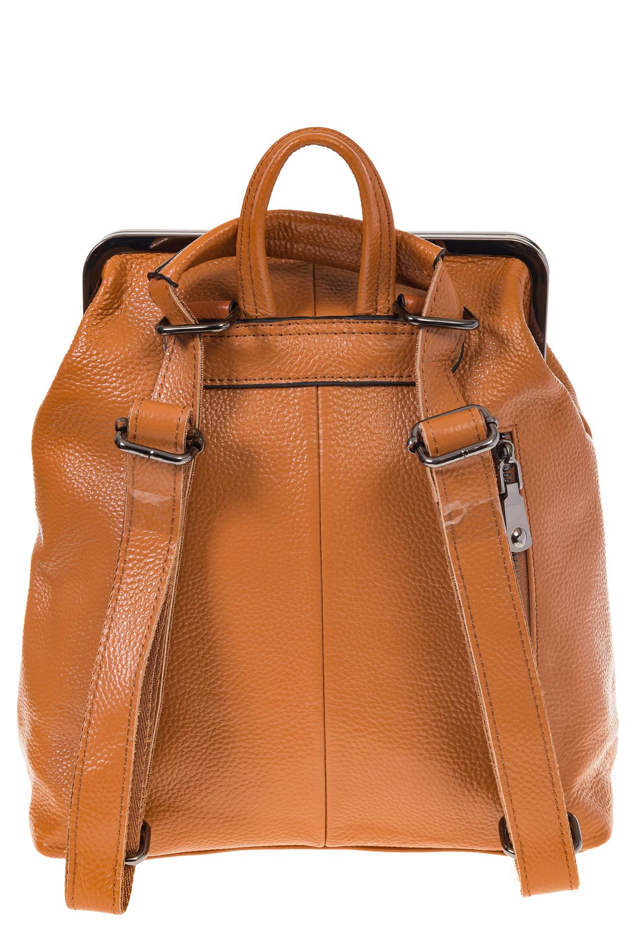 На фото 3 - Рюкзак с рамочным замком, цвет коричневый 1913AR