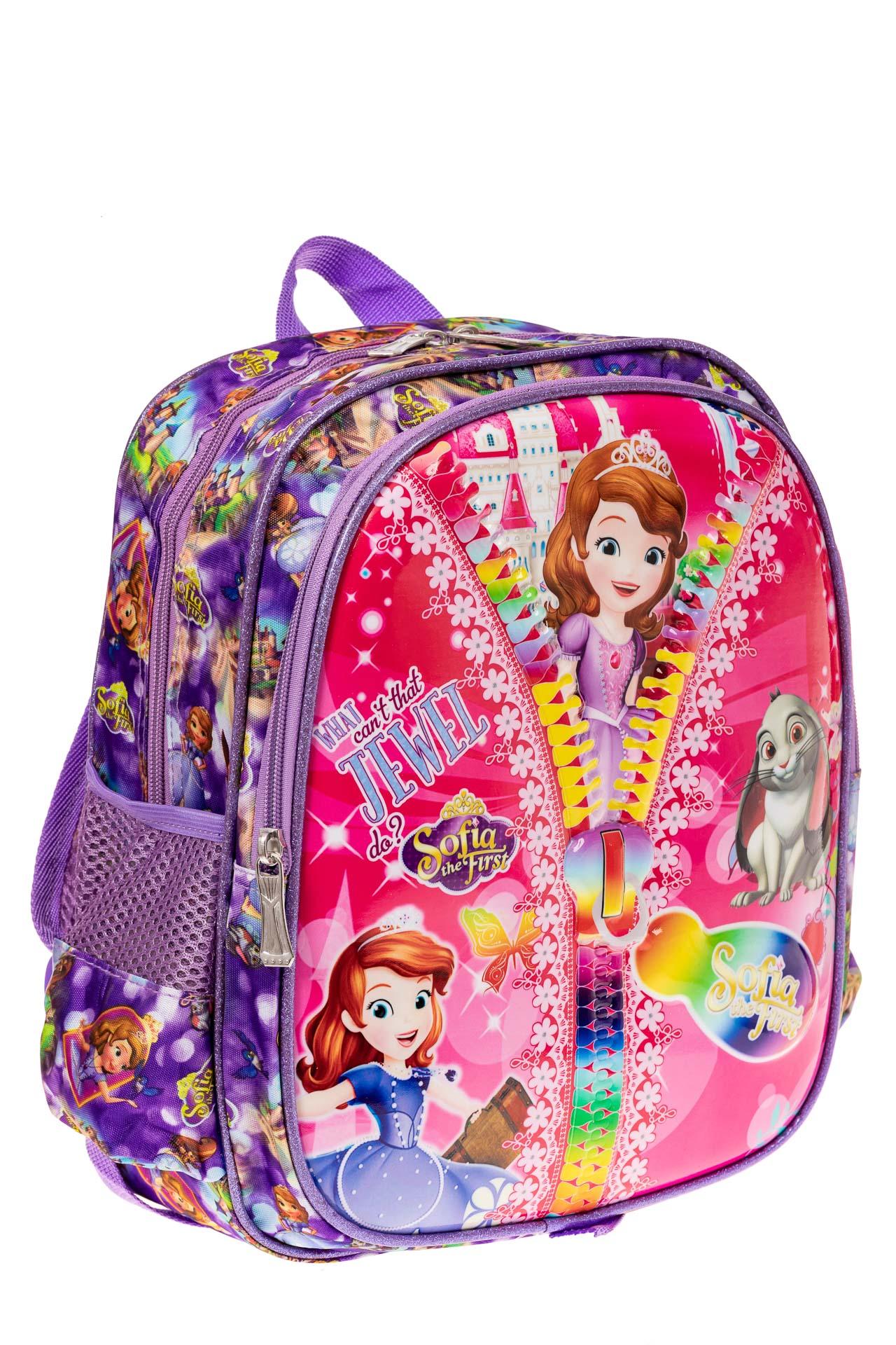 На фото 1 - Детский рюкзак из текстиля с ярким принтом, цвет фиолетовый