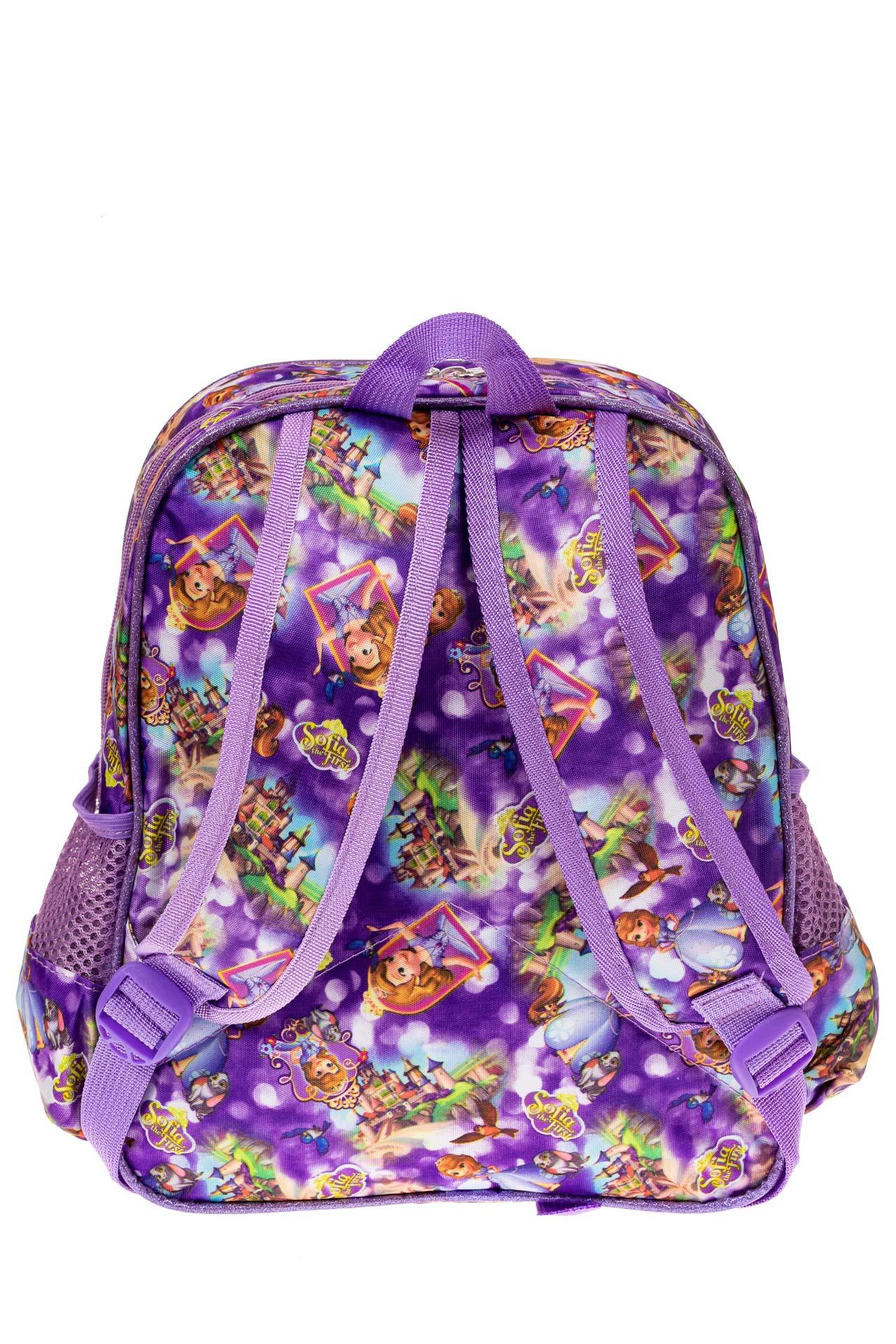 На фото 2 - Детский рюкзак из текстиля с ярким принтом, цвет фиолетовый
