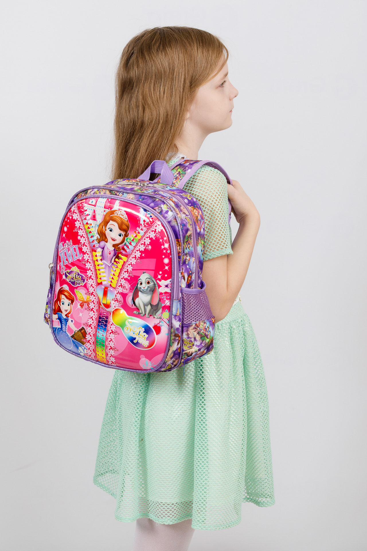 На фото 4 - Детский рюкзак из текстиля с ярким принтом, цвет фиолетовый