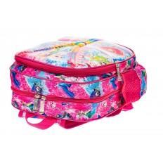 На фото 3 - Детский рюкзак из текстиля с ярким принтом, цвет розовый