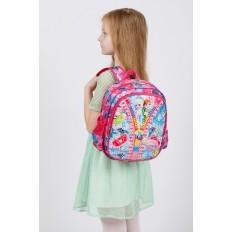 На фото 4 - Детский рюкзак из текстиля с ярким принтом, цвет розовый