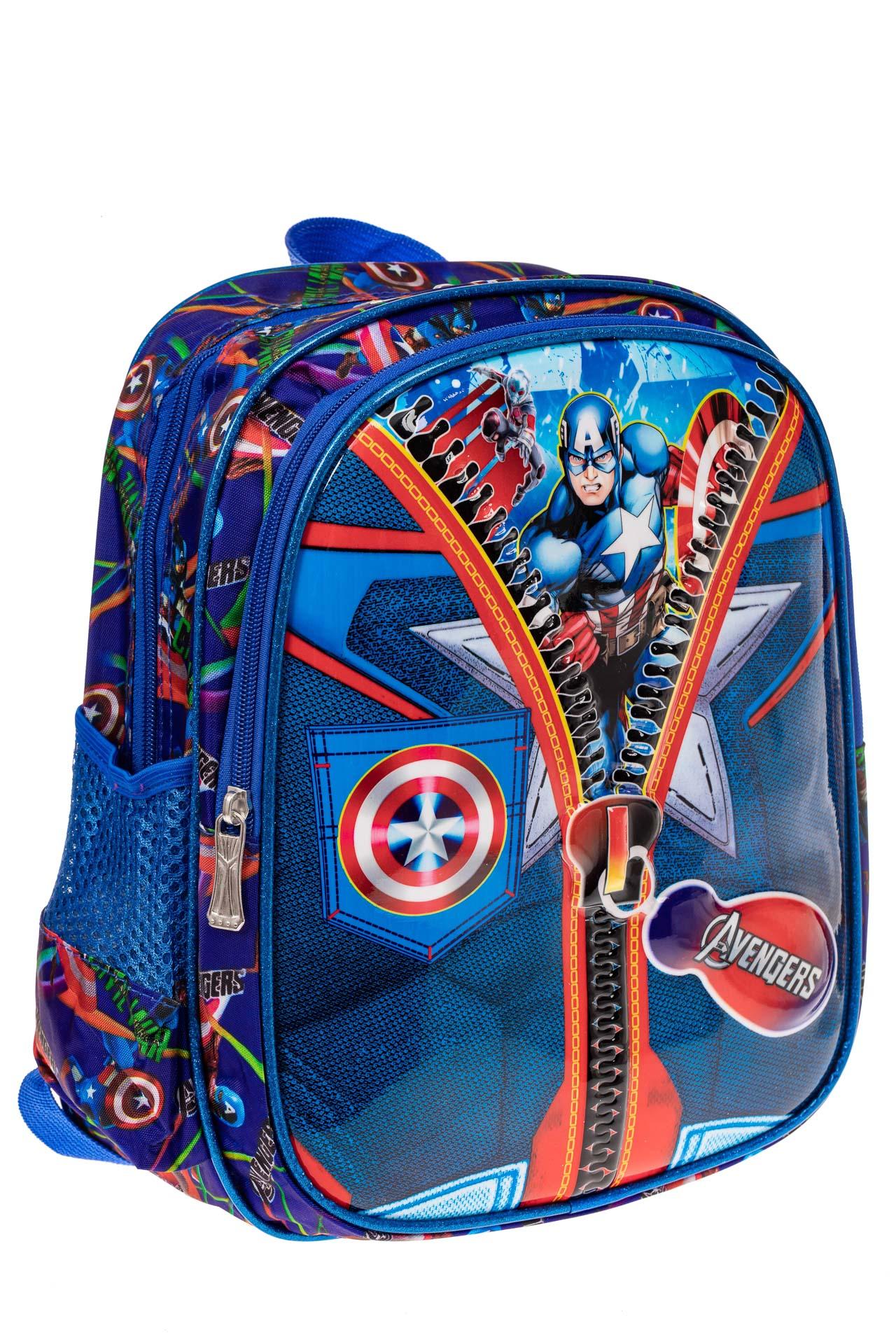 На фото 1 - Детский рюкзак из текстиля с ярким принтом, цвет синий