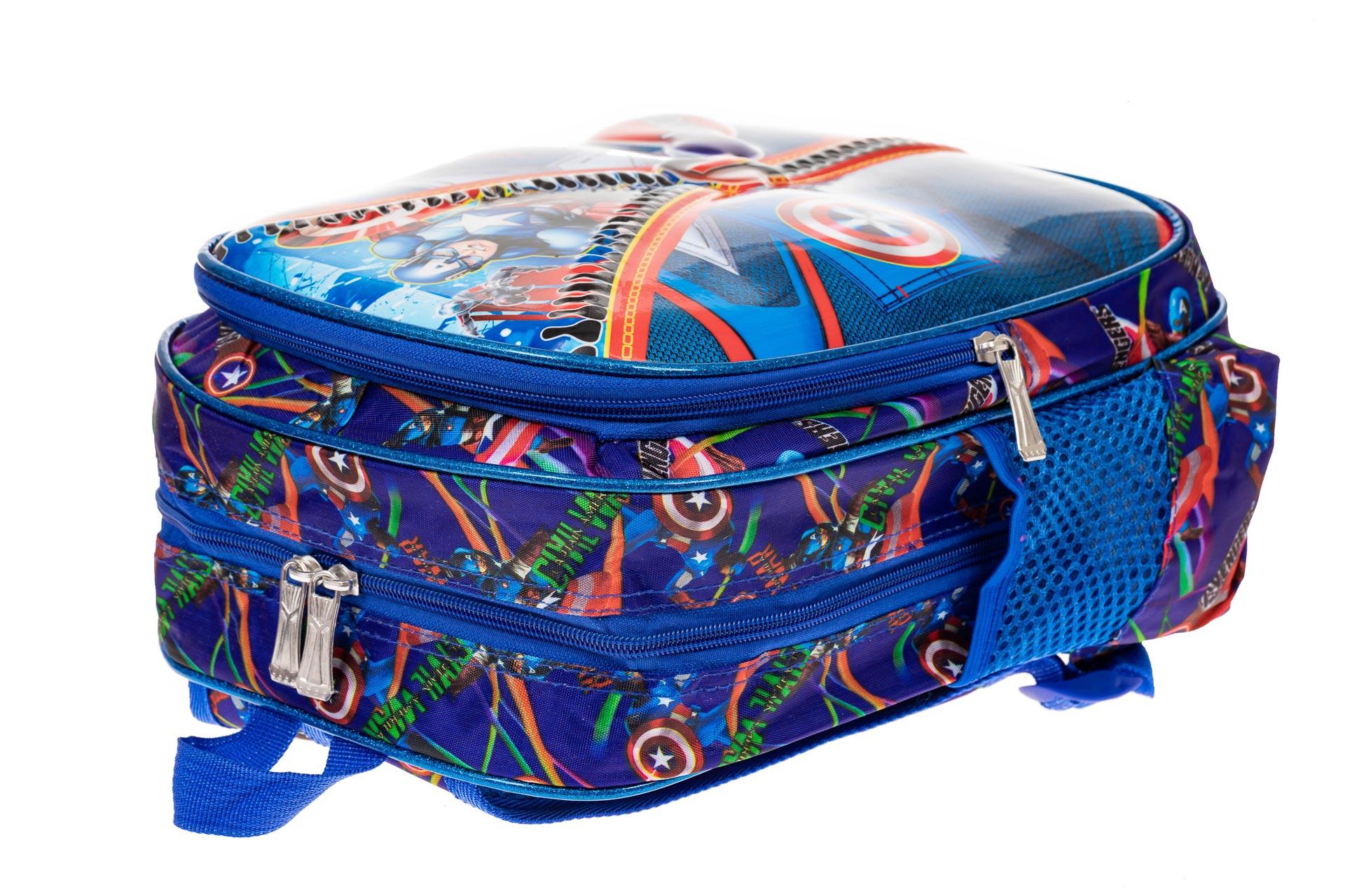 На фото 3 - Детский рюкзак из текстиля с ярким принтом, цвет синий