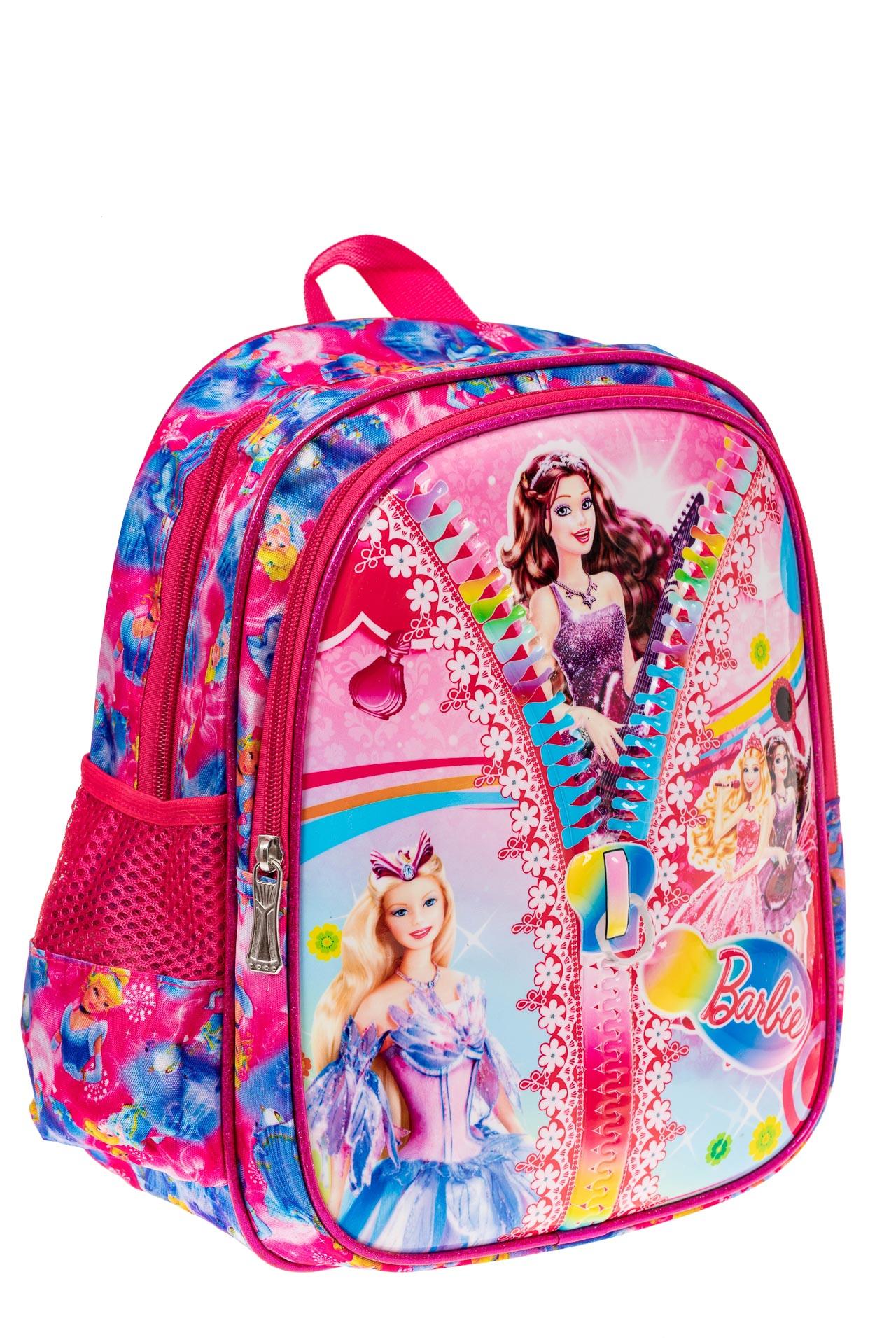 На фото 1 - Детский рюкзак из текстиля с ярким принтом, цвет малиновый