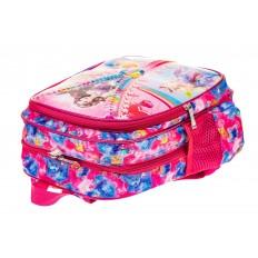 На фото 3 - Детский рюкзак из текстиля с ярким принтом, цвет малиновый