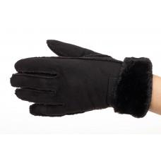 На фото 1 - Кроеные утепленные перчатки женские из велюра, цвет черный