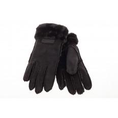 На фото 2 - Кроеные утепленные перчатки женские из велюра, цвет черный