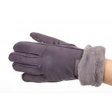 На фото 1 - Кроеные утепленные перчатки женские из велюра, цвет сиреневый