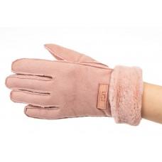На фото 1 - Кроеные утепленные перчатки женские из велюра, цвет розовый
