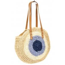 На фото 1 - Большая круглая плетеная сумка из джута, цвет бежевый