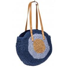 На фото 1 - Большая круглая плетеная сумка из джута, цвет синий