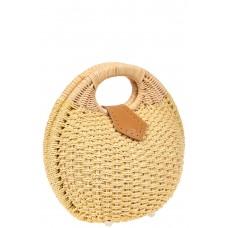 На фото 1 - Женская плетеная сумка из ротанга в форме шара, цвет слоновой кости