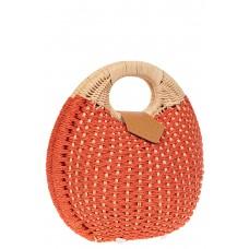 На фото 1 - Женская плетеная сумка из ротанга в форме шара, цвет коралл