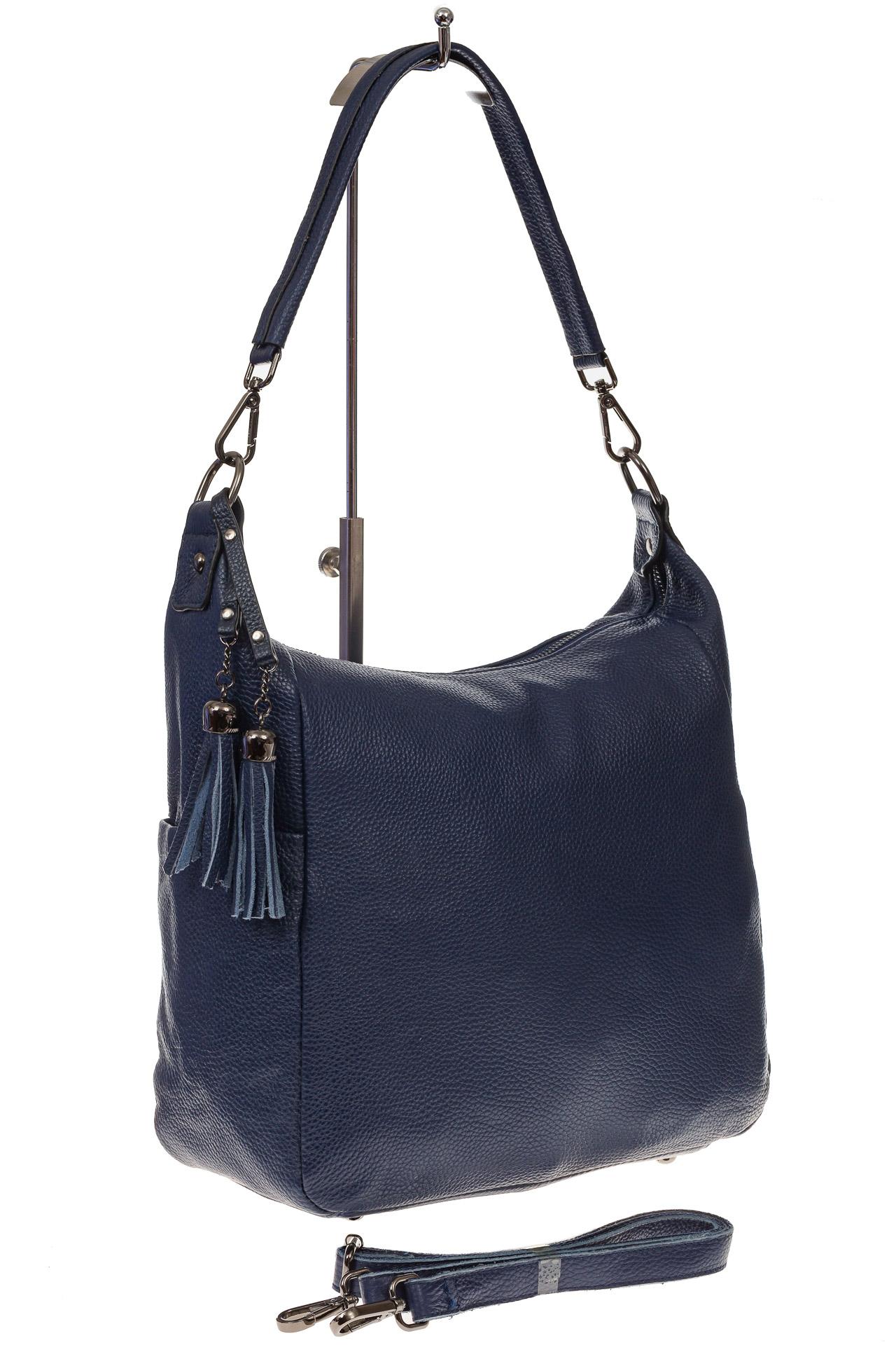 На фото 1 - Синяя сумка хобо из натуральной кожи