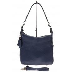 На фото 2 - Синяя сумка хобо из натуральной кожи