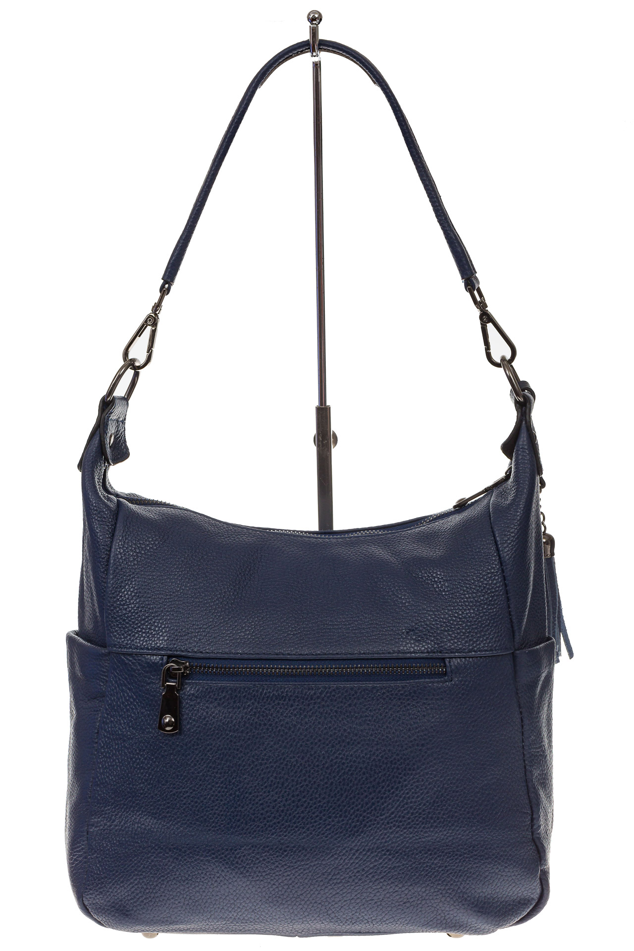 На фото 3 - Синяя сумка хобо из натуральной кожи