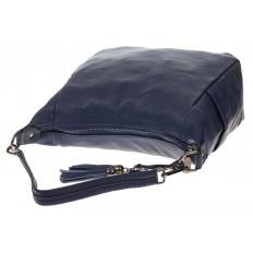 На фото 4 - Синяя сумка хобо из натуральной кожи