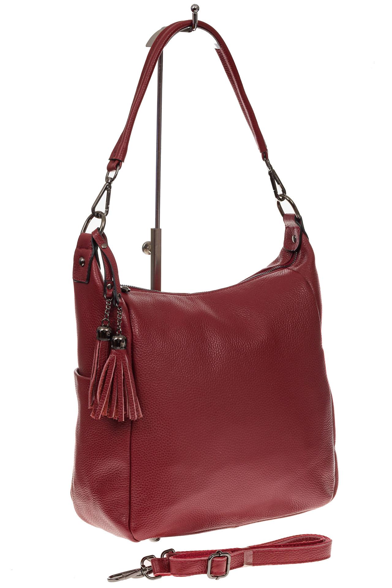 На фото 1 - Красная сумка хобо из натуральной кожи