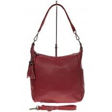 На фото 2 - Красная сумка хобо из натуральной кожи