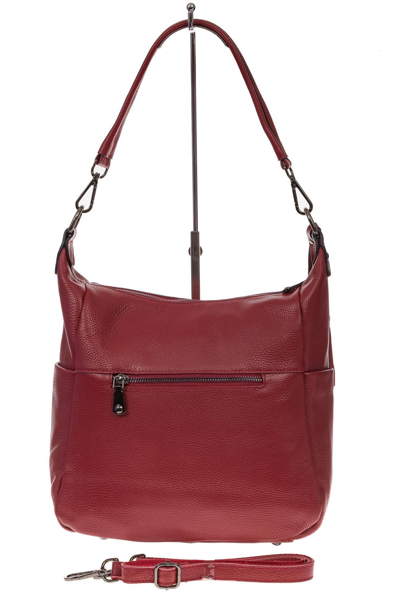 На фото 3 - Красная сумка хобо из натуральной кожи