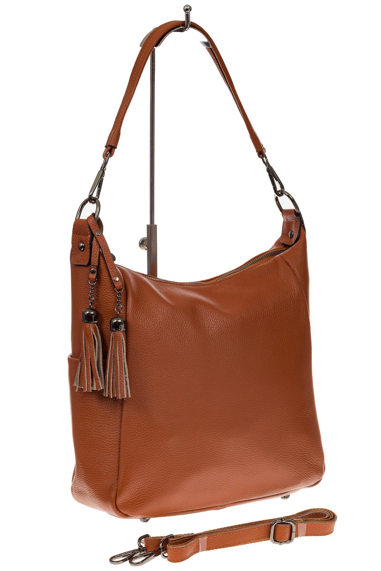 На фото 1 - Рыжая сумка хобо из натуральной кожи
