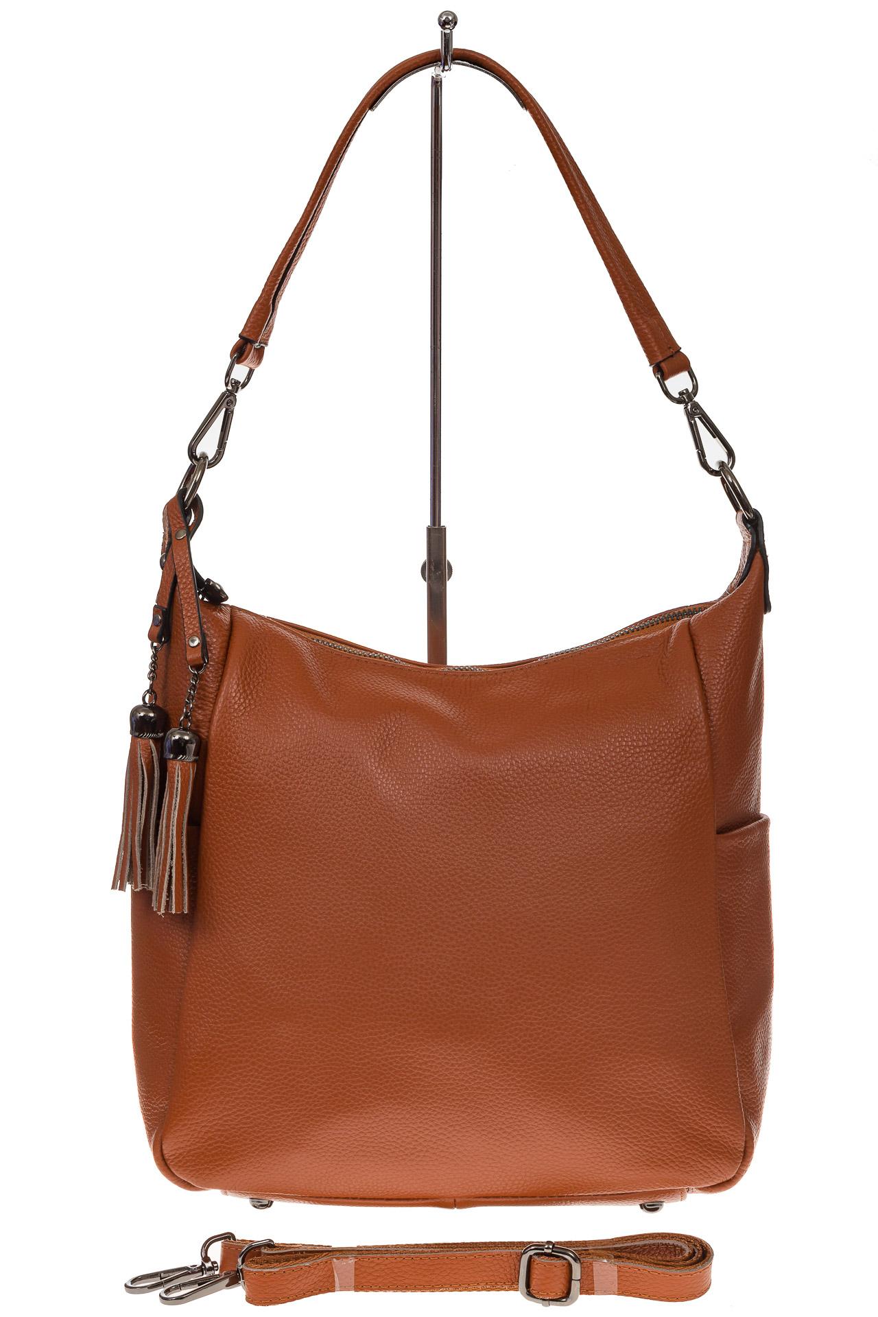 На фото 2 - Рыжая сумка хобо из натуральной кожи
