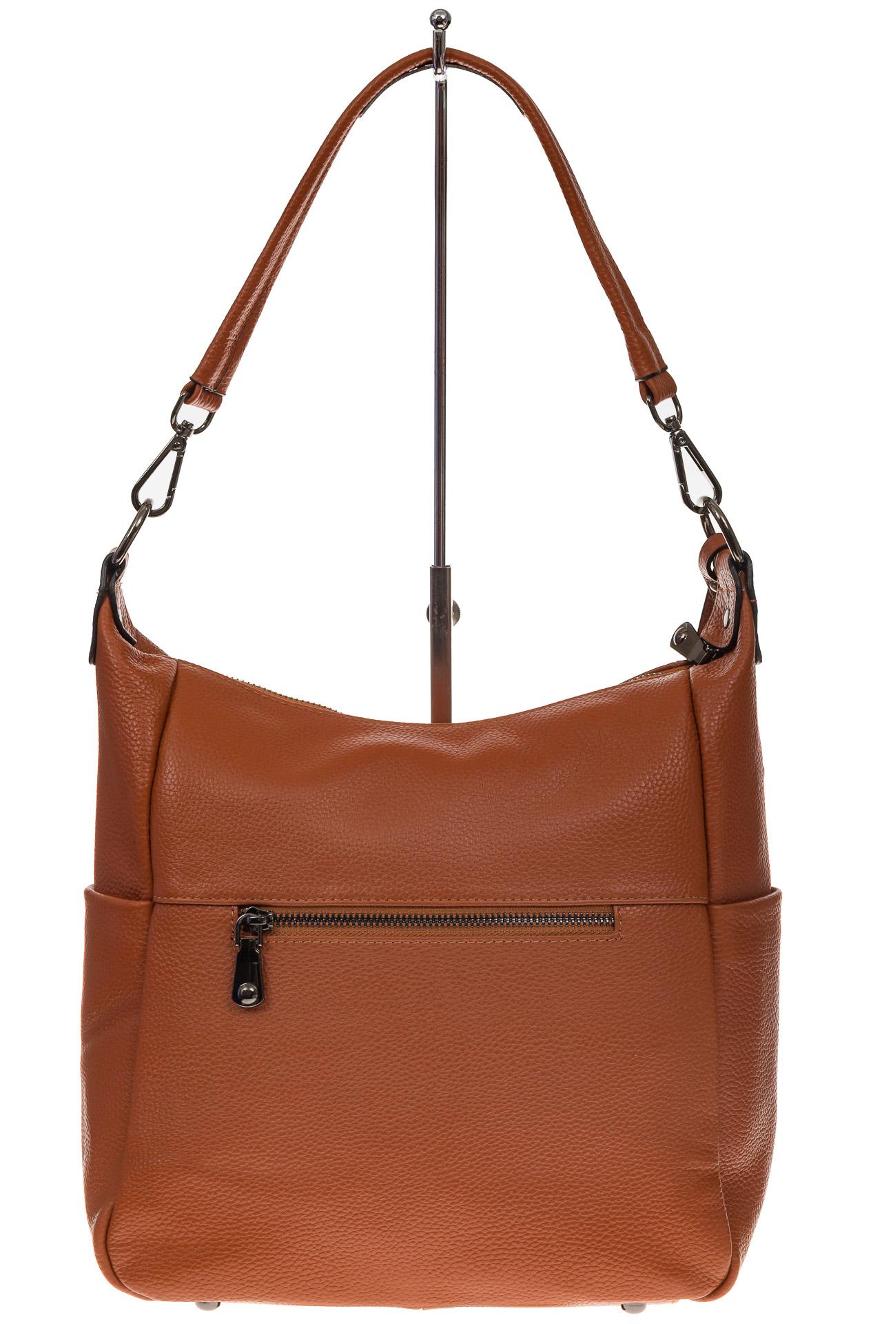 На фото 3 - Рыжая сумка хобо из натуральной кожи