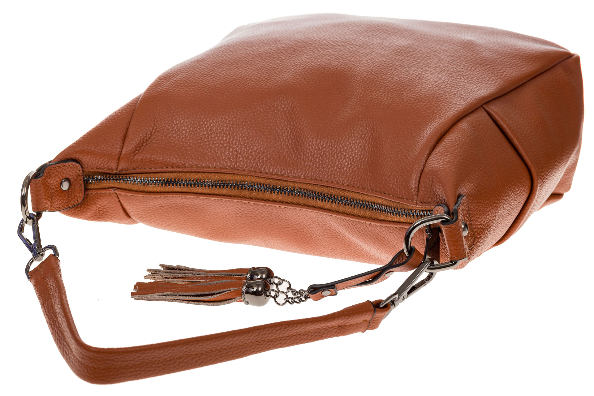 На фото 4 - Рыжая сумка хобо из натуральной кожи