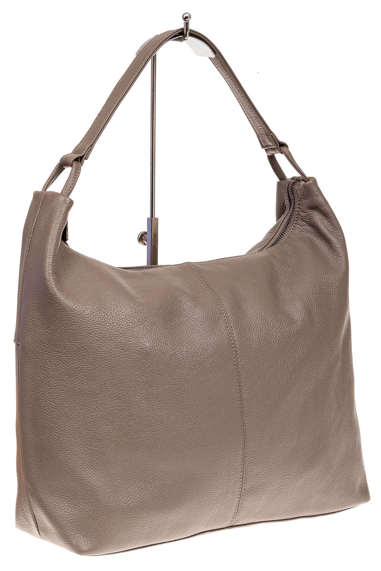 На фото 1 - Большая женская сумка из натуральной кожи, цвет бежевый