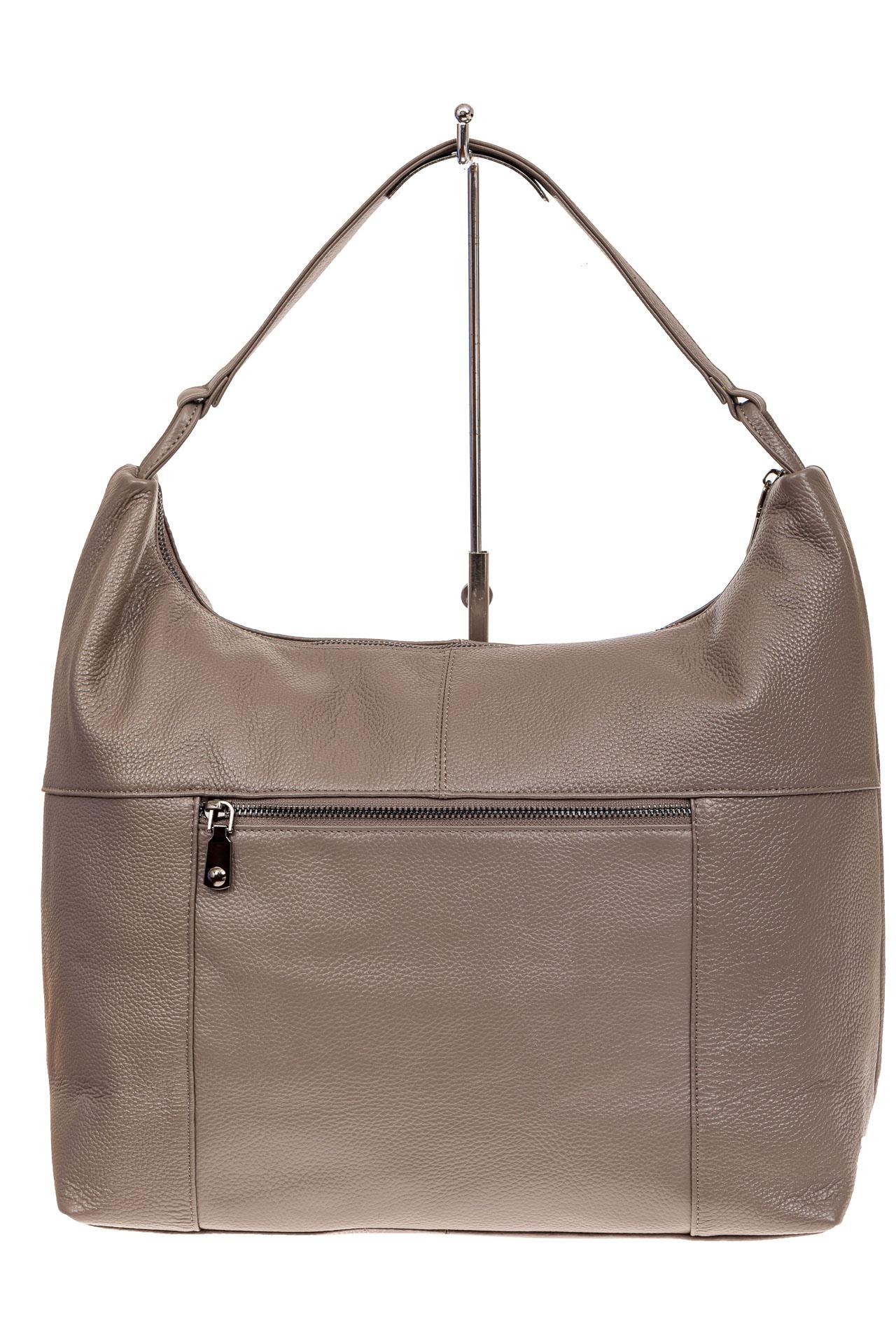 На фото 2 - Большая женская сумка из натуральной кожи, цвет бежевый