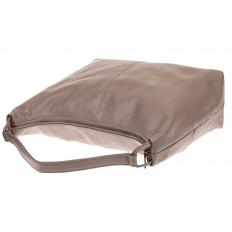 На фото 3 - Большая женская сумка из натуральной кожи, цвет бежевый