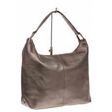 На фото 1 - Большая женская сумка из натуральной кожи, цвет бронза