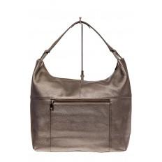 На фото 2 - Большая женская сумка из натуральной кожи, цвет бронза