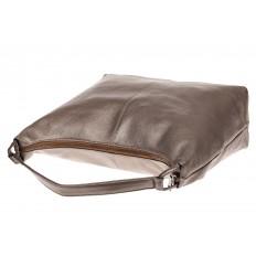 На фото 3 - Большая женская сумка из натуральной кожи, цвет бронза