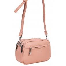 На фото 1 - Женская сумочка кросс-боди из фактурной экокожи, цвет розовый