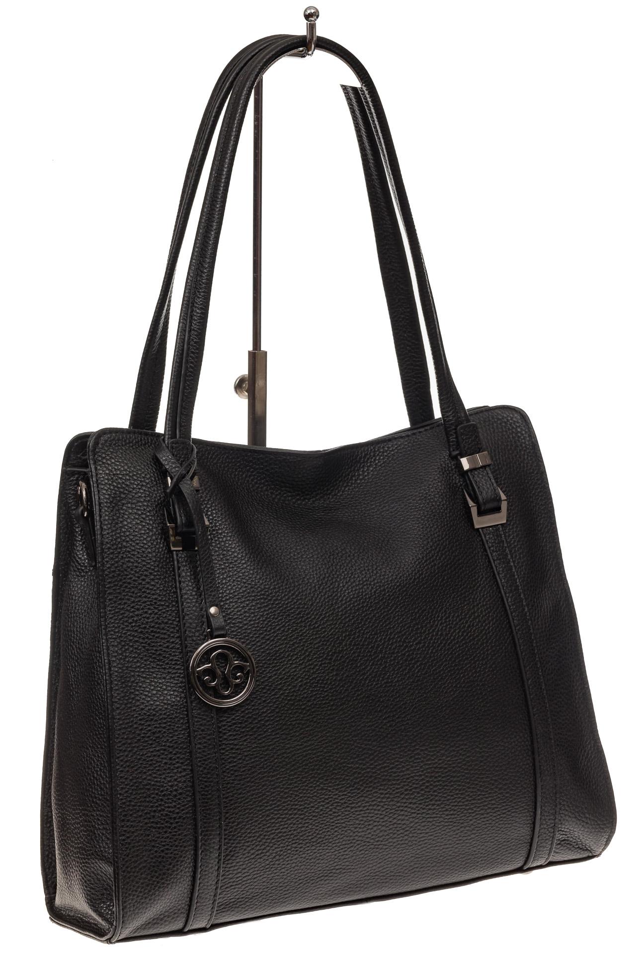 На фото 1 - Женская сумка шоппер из натуральной кожи, цвет черный