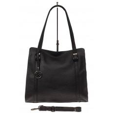 На фото 2 - Женская сумка шоппер из натуральной кожи, цвет черный