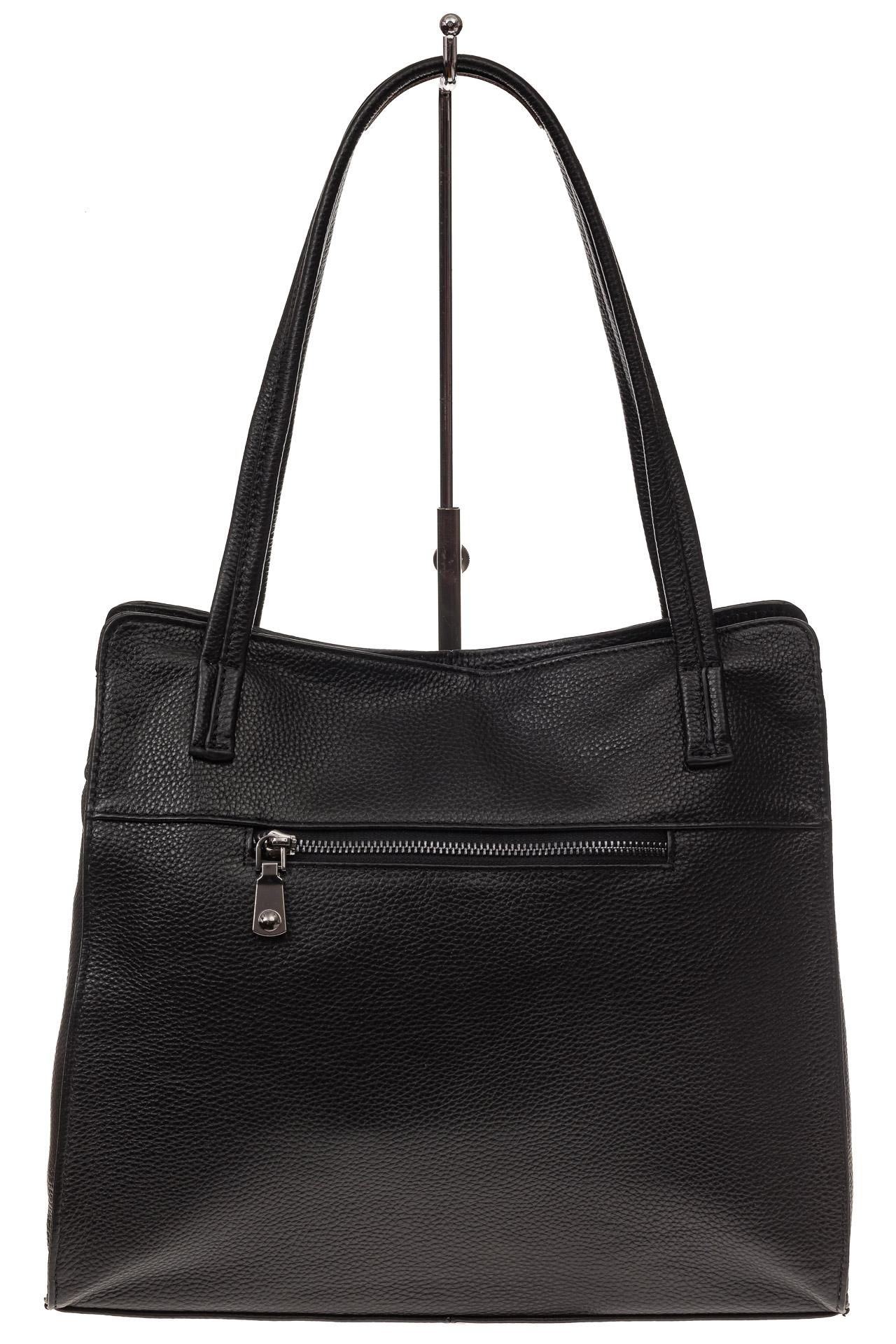 На фото 3 - Женская сумка шоппер из натуральной кожи, цвет черный