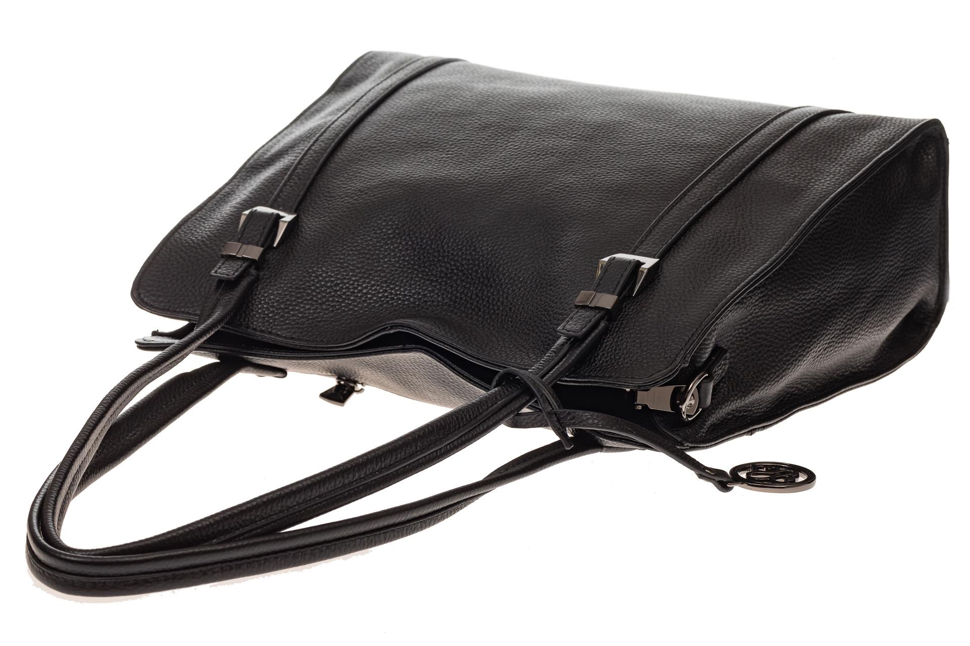 На фото 4 - Женская сумка шоппер из натуральной кожи, цвет черный